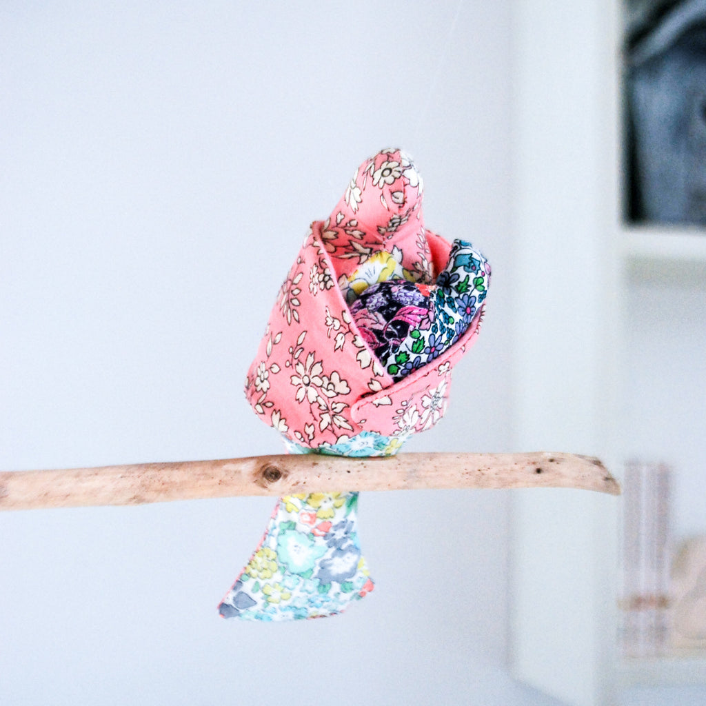 Bird Nursery Mobile:  'Rock a bye baby' handmade with Liberty print