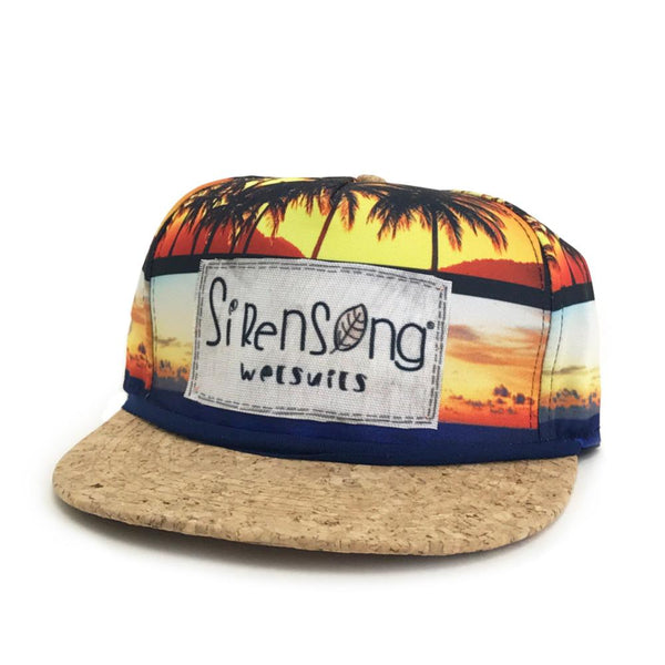 Sirensong Wetsuits | Cork-Brim Surf Hat - Sunset Palms