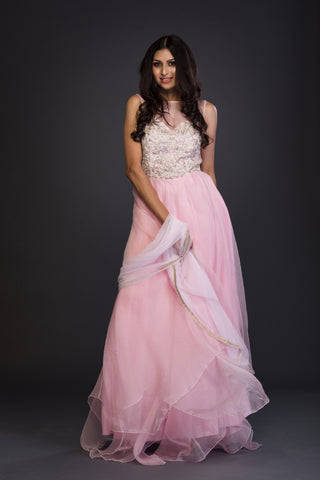 The Blush Pink Organza Anarkali