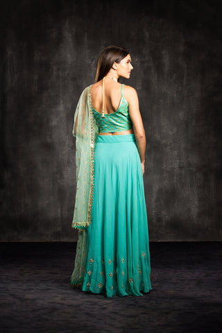 The Turquoise Mia Mirror Lehenga Set