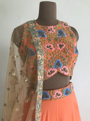 The Orange Poppy Lehenga Set
