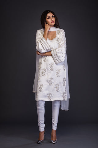 The White Mughal Motif Kurta Set