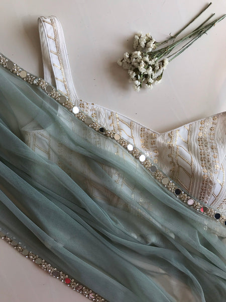 The Sea Foam Mirror Sari