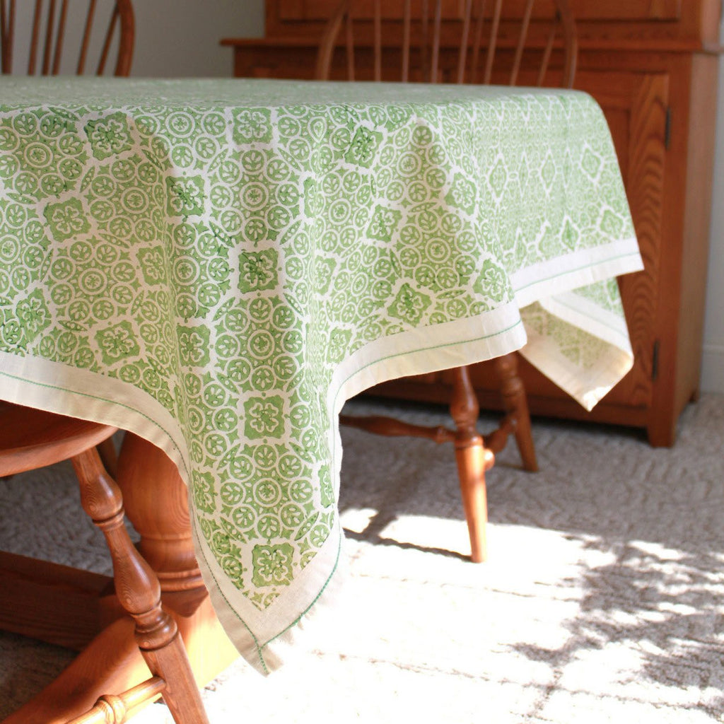 Lime Illusion Cotton Tablecloth 90 by 60 - Sustainable Threads (L)