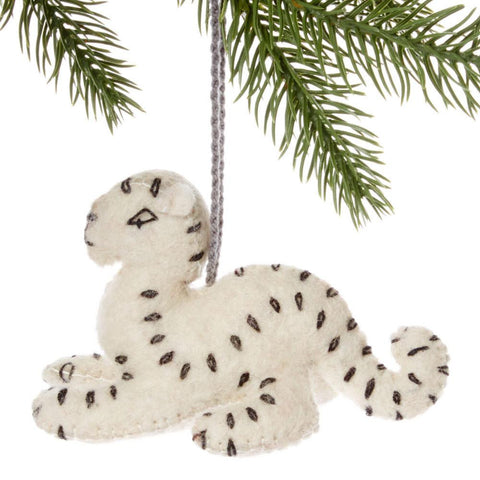 Snow Leopard Felt Holiday Ornament - Silk Road Bazaar (O)