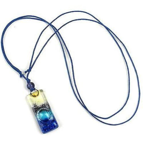 Sand and Sea Fused Glass Pendant Necklace Handmade and Fair Trade