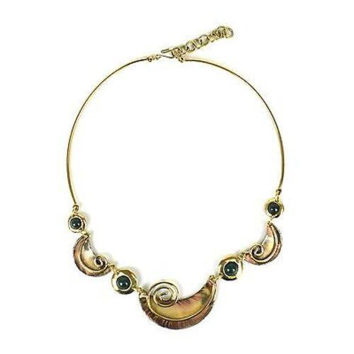 Crescent and Green Stone Brass Necklace Handmade and Fair Trade