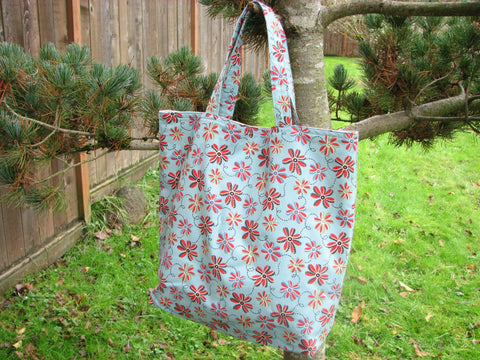 On Sale Library Book Bag Tote Retro Flowers on Blue Market bag