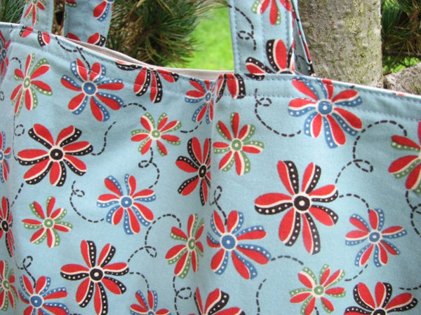 On Sale Library Book Bag Tote Retro Flowers on Blue Market bag Handmade