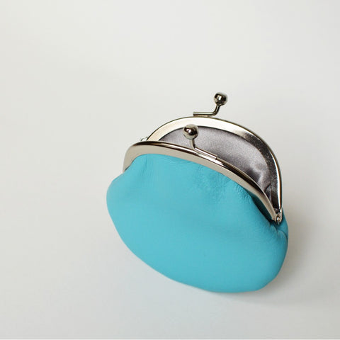 Small Leather Coin Purse Baby Blue Round Handmade