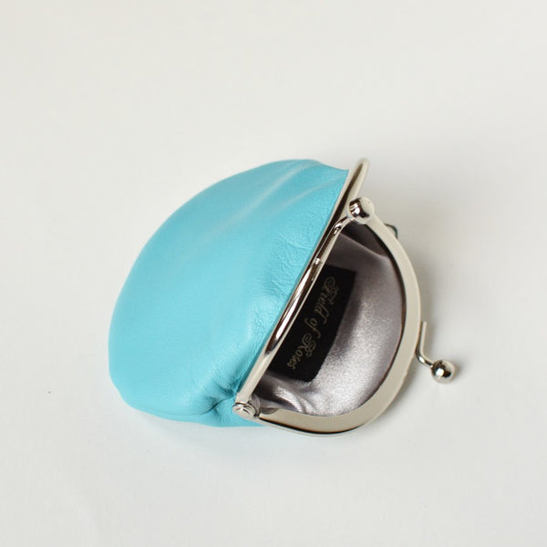 Small Leather Coin Purse Baby Blue Round