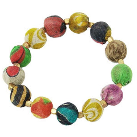 Kantha Bracelet Small Beads - WorldFinds