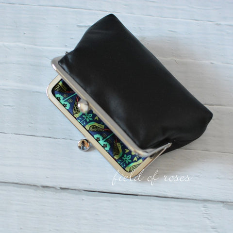 M Leather Frame Pouch Black Small Leather Clutch with Liberty of London Lining Cosmetic Pouch