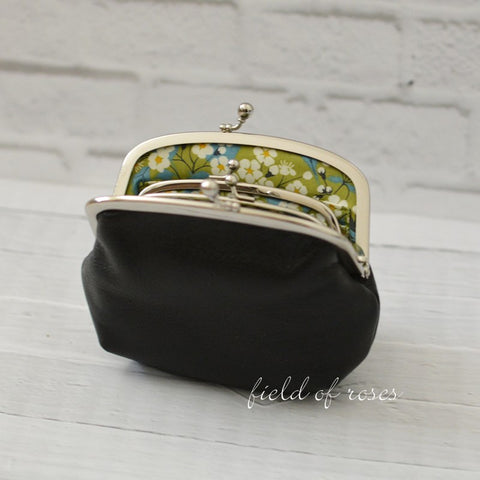 Mother and Daughter Frame Purse Black Leather Double Frame Purse Wallet with Liberty of London Lining