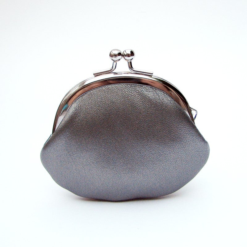 Small Leather Coin Purse Gunmetal Silver Round
