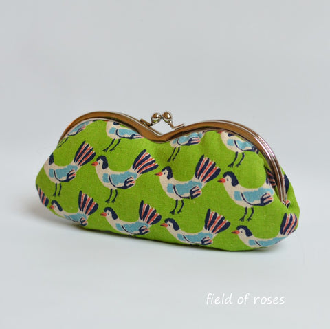 Sunglasses Eyeglasses Case Kawaii Birds Tweet Tweet Green Handmade