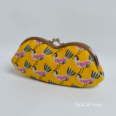Sunglasses Eyeglasses Case Kawaii Birds Tweet Tweet Golden Yellow Handmade