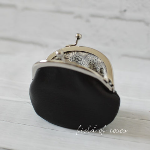 Small Leather Coin Purse Black Round with Liberty of London Floral Lining Handmade