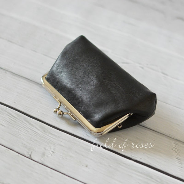 Large Coin Purse Black Leather Small Gadget Pouch Kisslock Coin Purse Handmade