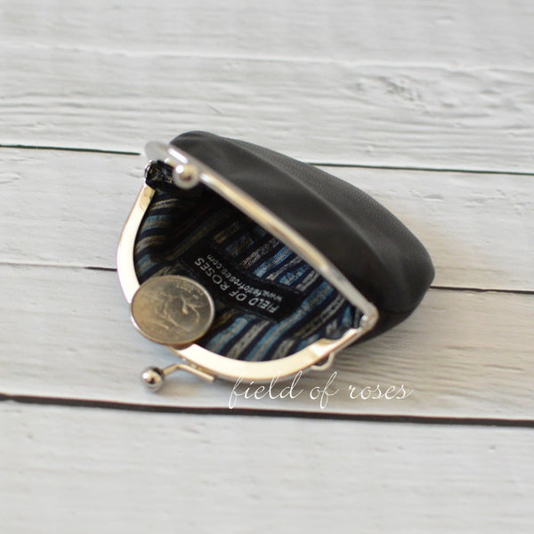Small Leather Coin Purse Black Round with Stripe Silk Lining Handmade