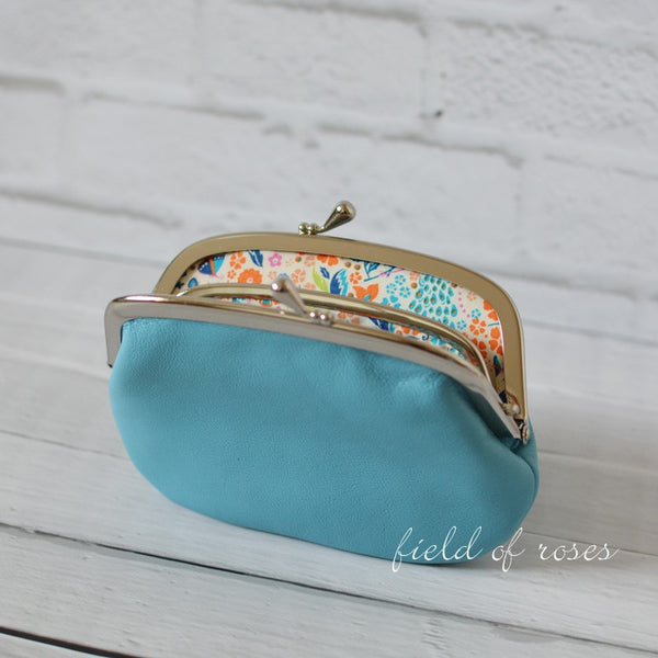 Women's Baby Blue Leather Wallet with Divider Coin Purse