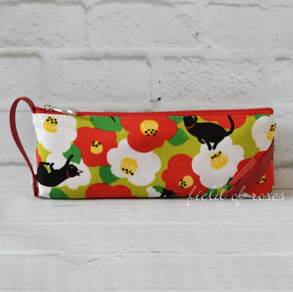 Pencil Case Cats and Camillia Green Imported Zipper Pouch