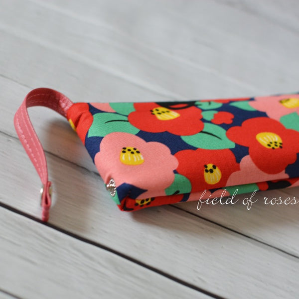 Pencil Case Cats and Camillia Navy Blue Imported Zipper Pouch