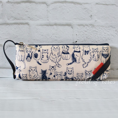 Pencil Case Lined Cats Zipper Pouch