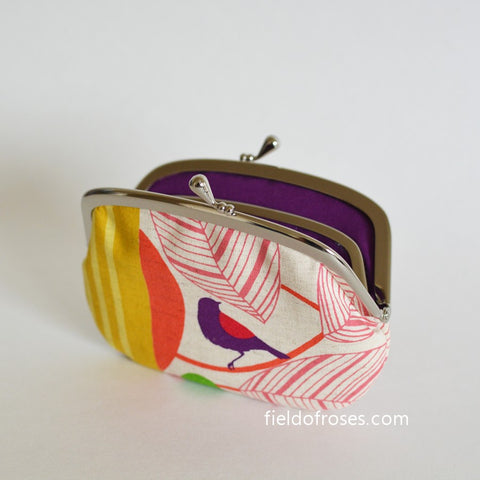 Women's  Wallet with Divider Coin Purse Bird and Leaves