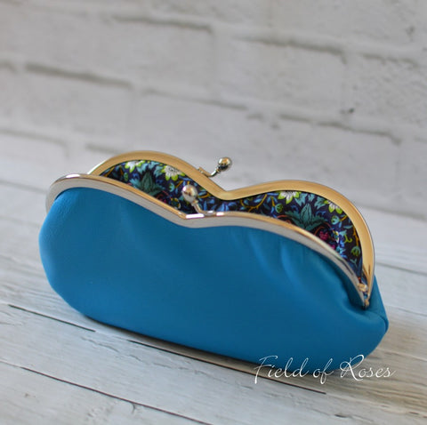 Sunglasses Eyeglasses Case Deep Sky Blue Leather with Liberty of London Lining Strawberry Thief