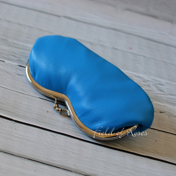 Sunglasses Eyeglasses Case Deep Sky Blue Leather with Liberty of London Lining Strawberry Thief Handmade