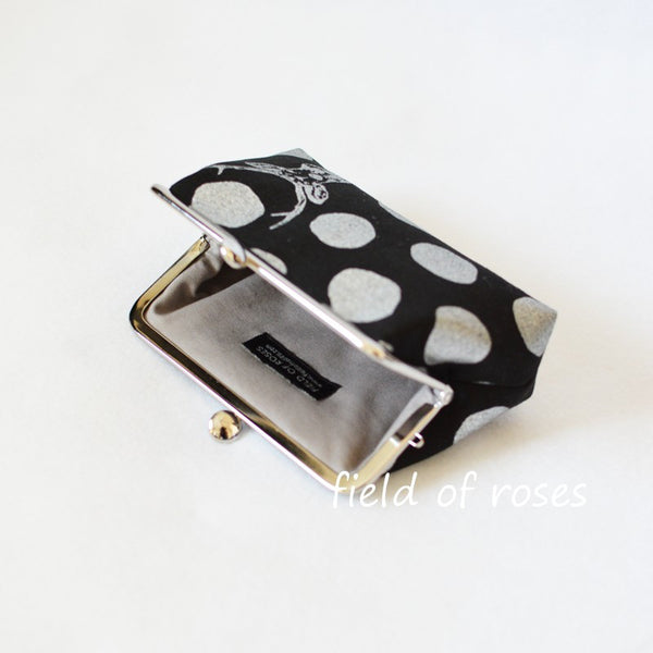 M Frame Pouch Small Clutch Clasp Cosmetic Purse Deer Polkda Dots Metallic Silver