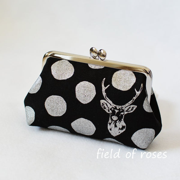 M Frame Pouch Small Clutch Clasp Cosmetic Purse Deer Polkda Dots Metallic Silver Handmade