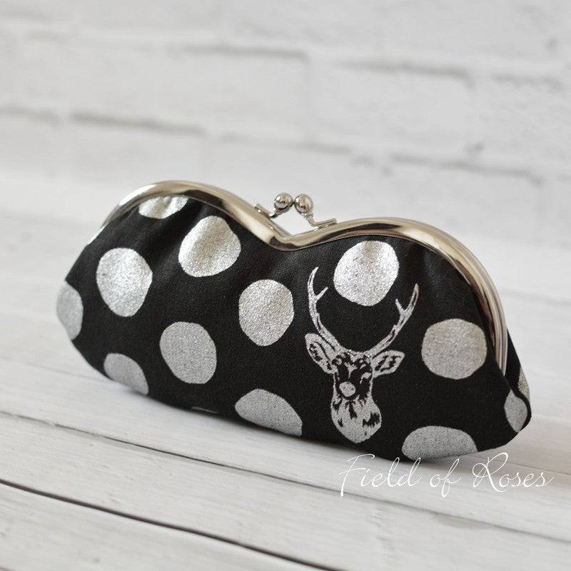 Sunglasses Eyeglasses Case Mod Deer Polka Dot Metallic Silver Black Handmade