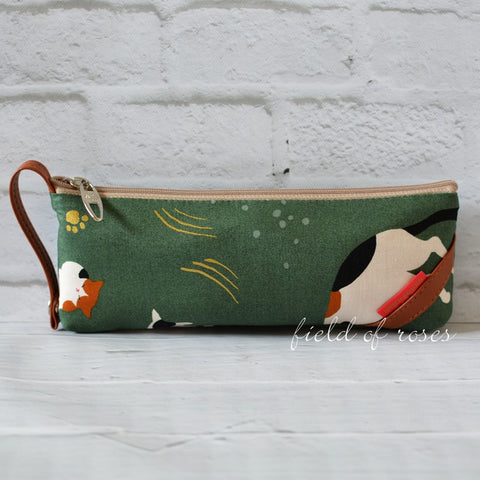 Pencil Case Hiding Cats Green Imported Zipper Pouch