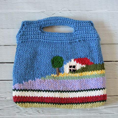 Handmade Knitted Bag House on Hill
