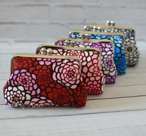 M Frame Pouch Small Clutch Clasp Cosmetic Purse Mordern Japanese Kimono Prints