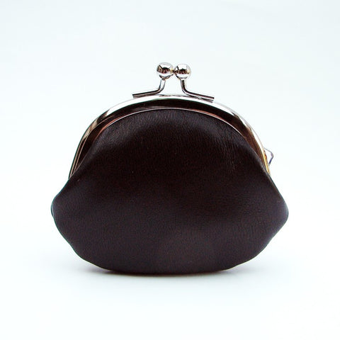 Small Leather Coin Purse Black Round with Stripe Silk Lining