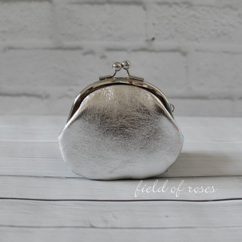 Small Leather Coin Purse Metallic Silver Round