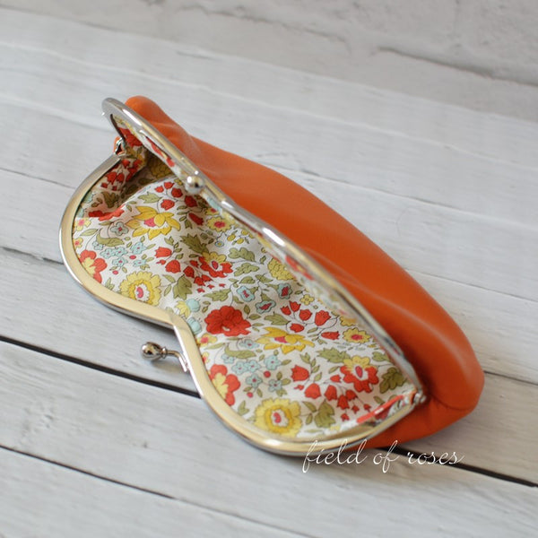 Sunglasses Eyeglasses Case Orange Leather with Liberty of London Lining Floral