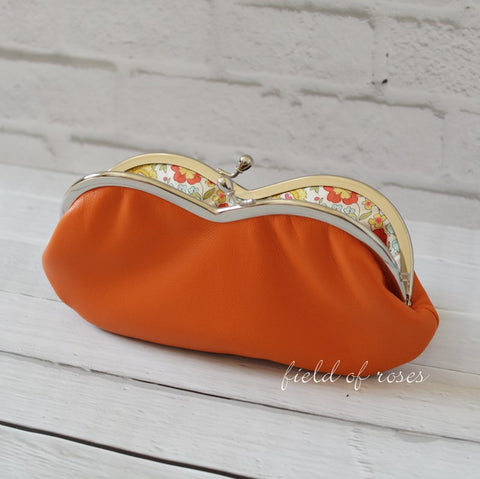 Sunglasses Eyeglasses Case Orange Leather with Liberty of London Lining Floral Handmade