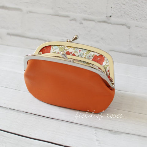 Women's Orange Leather Wallet with Divider Coin Purse Liberty of London Floral Lining