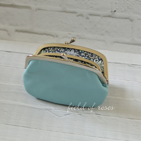 Women's Powder Blue Leather Wallet with Divider Coin Purse