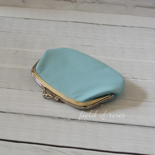 Women's Powder Blue Leather Wallet with Divider Coin Purse Handmade