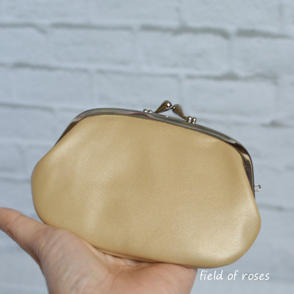 Women's Shimmery Gold Leather Wallet with Divider Coin Purse Handmade