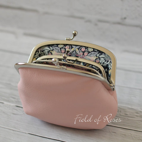 Made to Order Mother and Daughter Frame Purse Pale Pink Leather Double Frame Purse Wallet with Liberty of London Lining