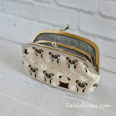 Women's  Wallet with Divider Coin Purse Kawaii Pug Dog