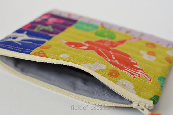Modern Quilted Zipper Cosmetic Pouch Patchwork Echino Handmade