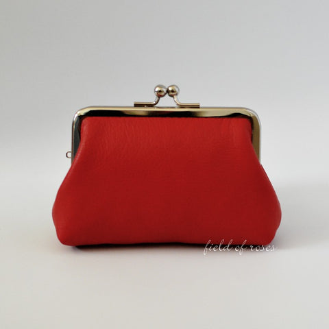 Large Coin Purse Red Leather Small Gadget Pouch Kisslock Coin Purse Handmade