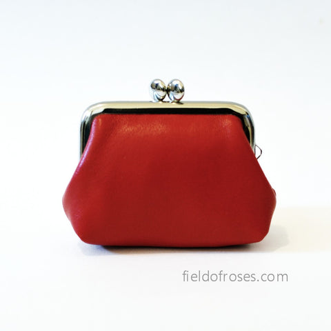 Small Leather Coin Purse Square Red Earbud Holder Rosary Case